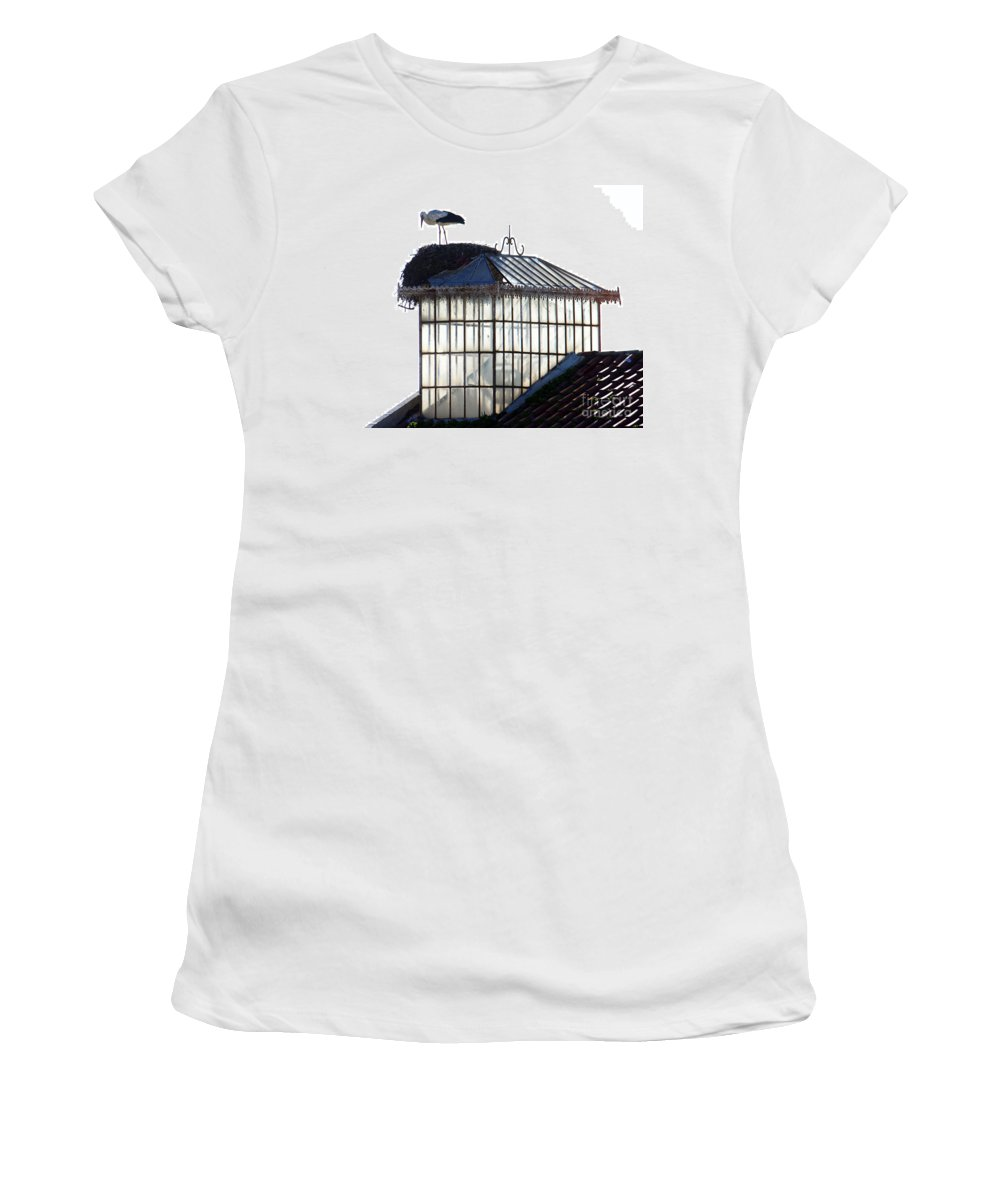 White Stork Women's T-Shirt featuring the photograph White Stork by Tim Holt