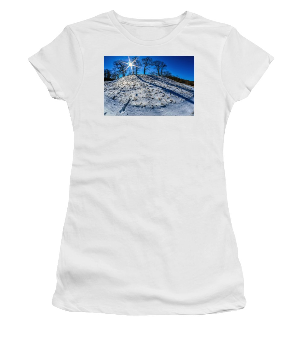 Winter Women's T-Shirt (Athletic Fit) featuring the photograph Winter Scinery In The Mountains With Bllue Sky And Sunshine by Alex Grichenko