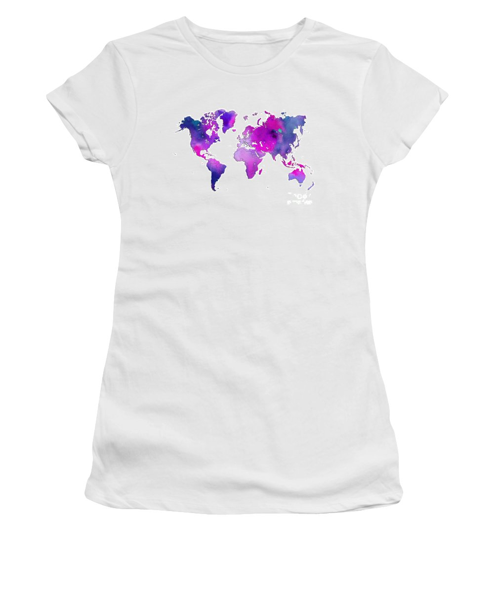 World Women's T-Shirt featuring the digital art World Map Watercolor by Voros Edit