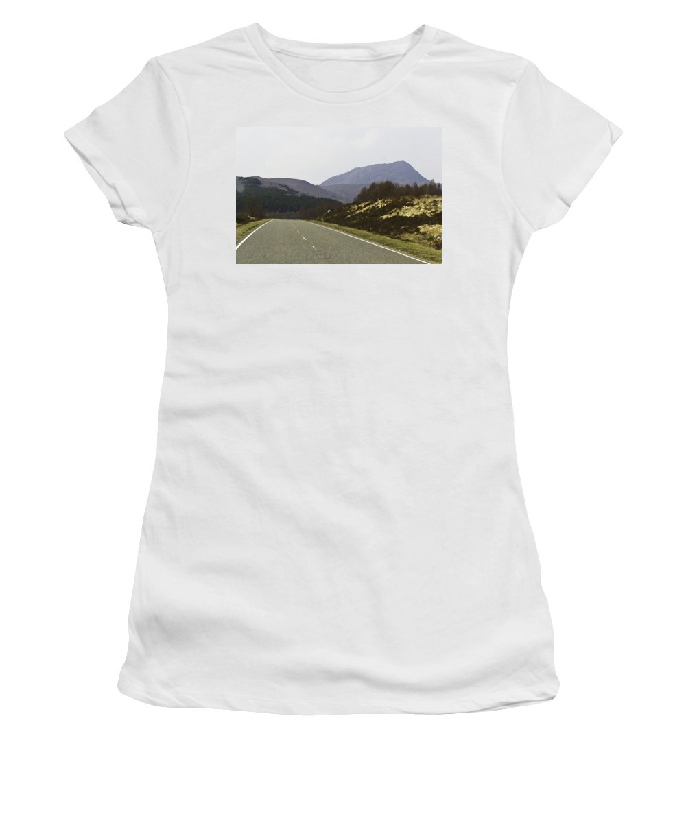 Canon Women's T-Shirt (Athletic Fit) featuring the digital art Highway Running Through The Wilderness Of The Scottish Highlands by Ashish Agarwal