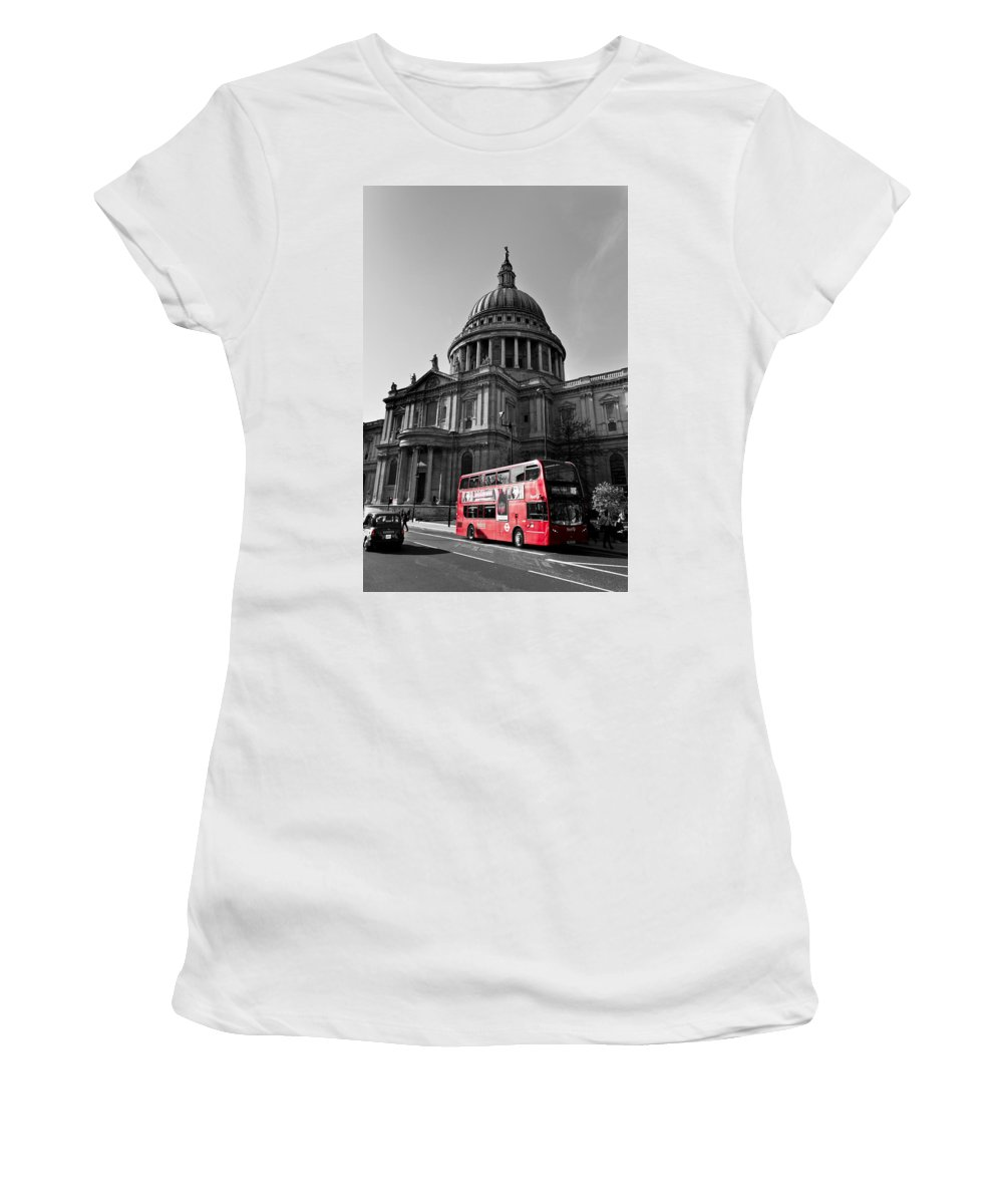 St Paul's Women's T-Shirt (Athletic Fit) featuring the photograph St Paul's Cathedral London by David Pyatt