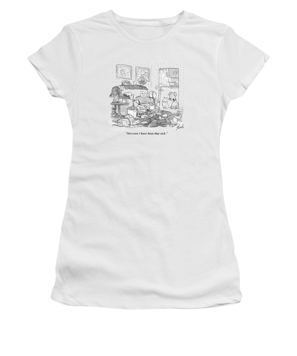 #condenastnewyorkercartoon Women's T-Shirt featuring the drawing Not Even I Have Been That Sick by Tom Toro