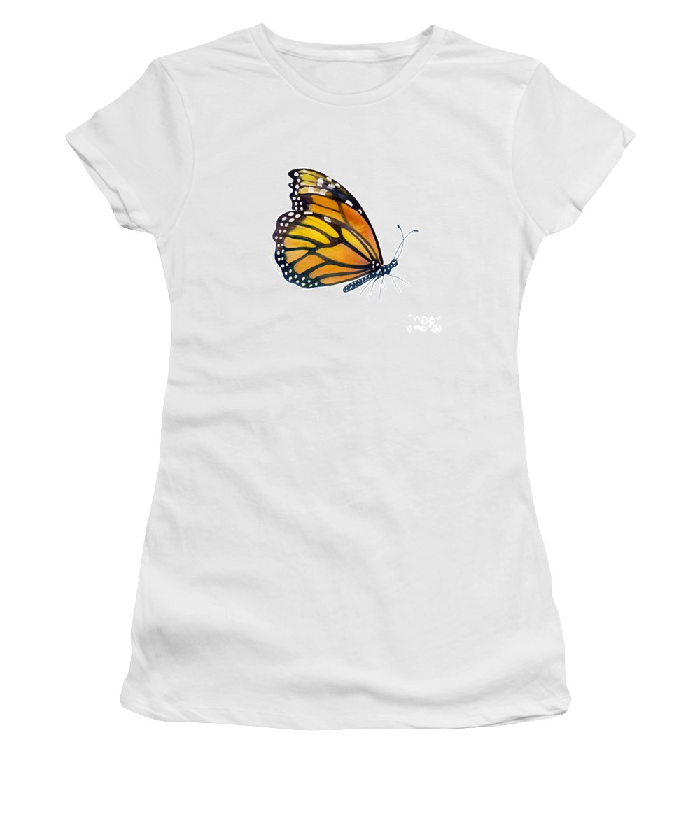Monarch Butterfly Women's T-Shirt featuring the painting 103 Perched Monarch Butterfly by Amy Kirkpatrick