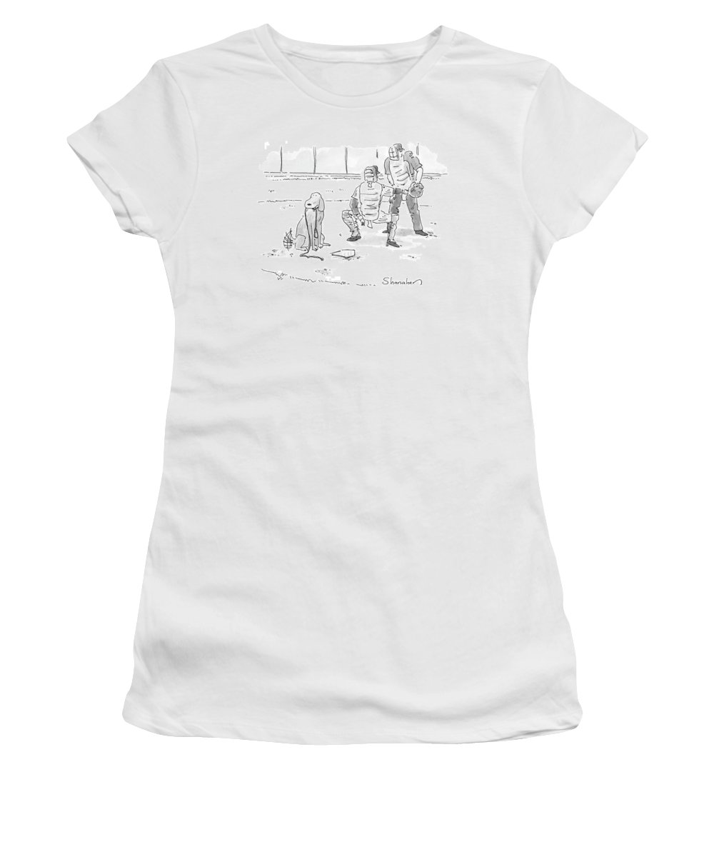 Sports Pets Dogs Baseball Homeplate Walk Women's T-Shirt featuring the drawing New Yorker October 10th, 2005 by Danny Shanahan
