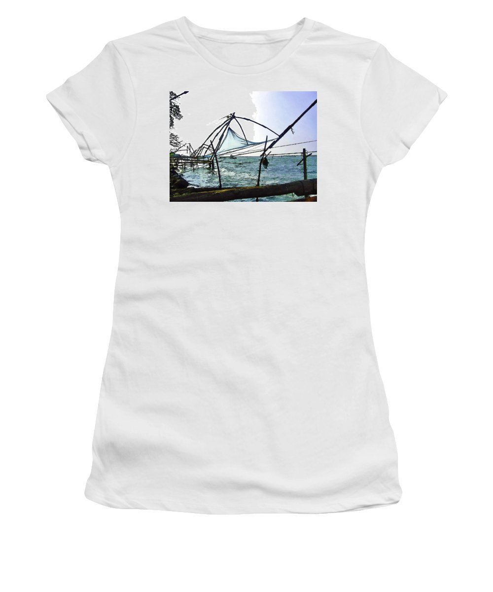 Action Women's T-Shirt featuring the digital art Fishing Nets On The Sea Coast In Alleppey by Ashish Agarwal
