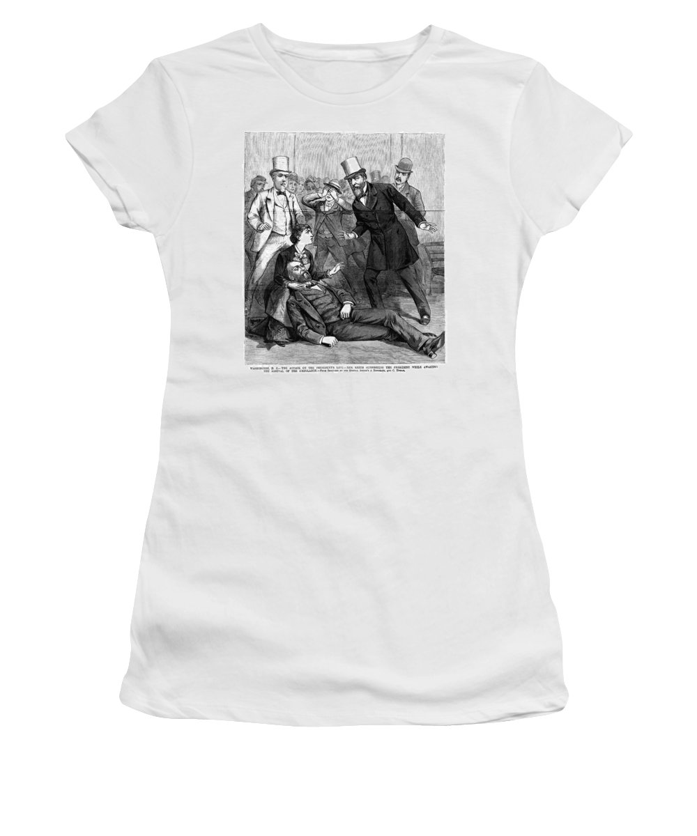 1881 Women's T-Shirt (Athletic Fit) featuring the painting Garfield Assassination by Granger