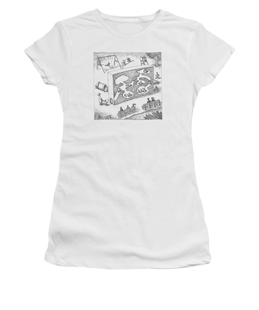 Chilren Games   (kids Playing In A Large Child-size Ant-farm.) 120538 Job John O'brien Women's T-Shirt featuring the drawing New Yorker February 14th, 2005 by John O'Brien