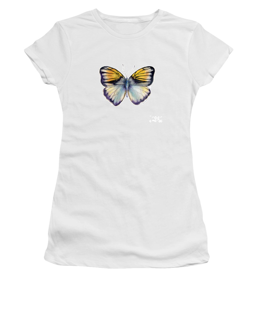 Pieridae Butterfly Women's T-Shirt featuring the painting 14 Pieridae Butterfly by Amy Kirkpatrick