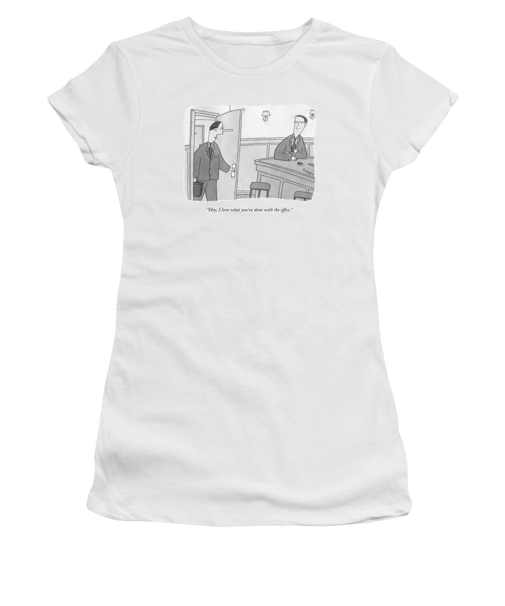 Bar Women's T-Shirt featuring the drawing Hey, I Love What You've Done With The Office by Peter C. Vey