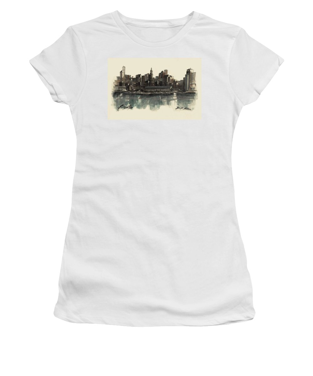 Fineartamerica.com Women's T-Shirt featuring the painting Boston Skyline by Diane Strain