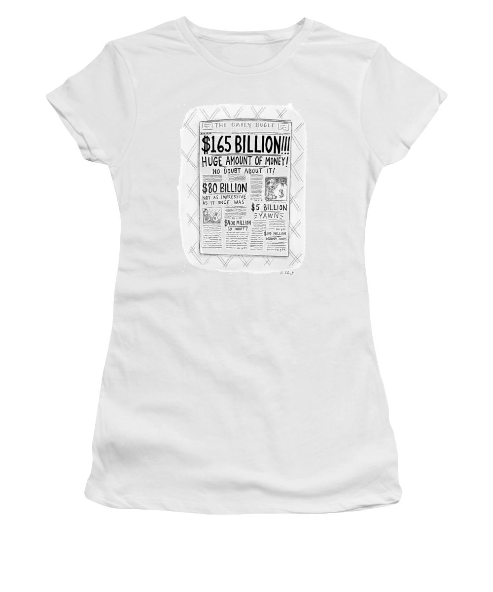 Newspapers Women's T-Shirt featuring the drawing New Yorker April 24th, 2000 by Roz Chast