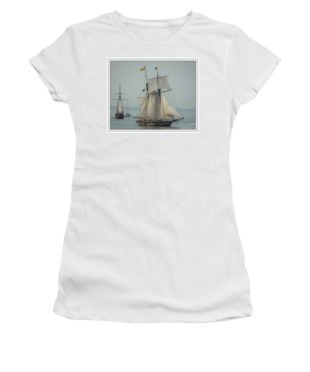Marcia Lee Jones Women's T-Shirt (Athletic Fit) featuring the photograph 1812 Pride Of Baltimore II by Marcia Lee Jones