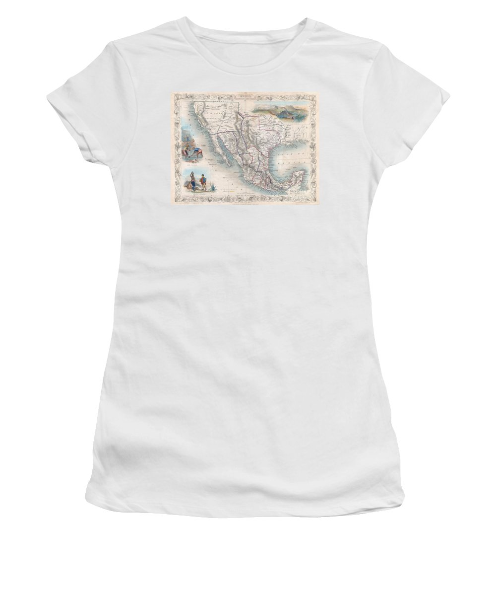 An Exceptional Example Of John Tallis And John Rapkin's Highly Desirable 1851 Map Of Mexico Women's T-Shirt featuring the photograph 1851 Tallis Map Of Mexico Texas And California by Paul Fearn