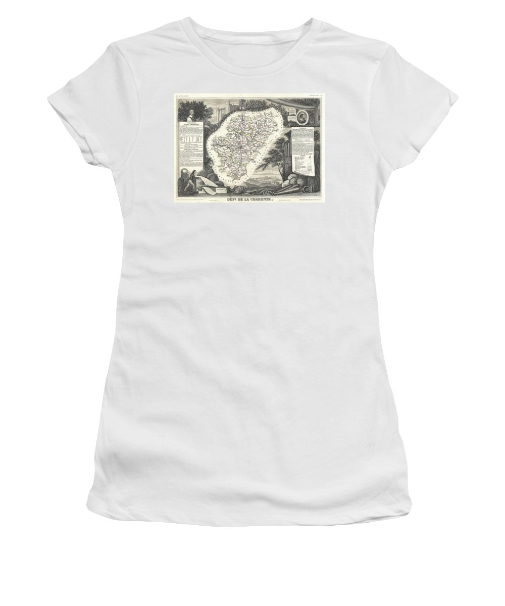 1852 Levasseur Map Of The Department La Charente Women's T-Shirt featuring the photograph 1852 Levasseur Map Of The Department La Charente France Cognac And Pineau Wine Region by Paul Fearn