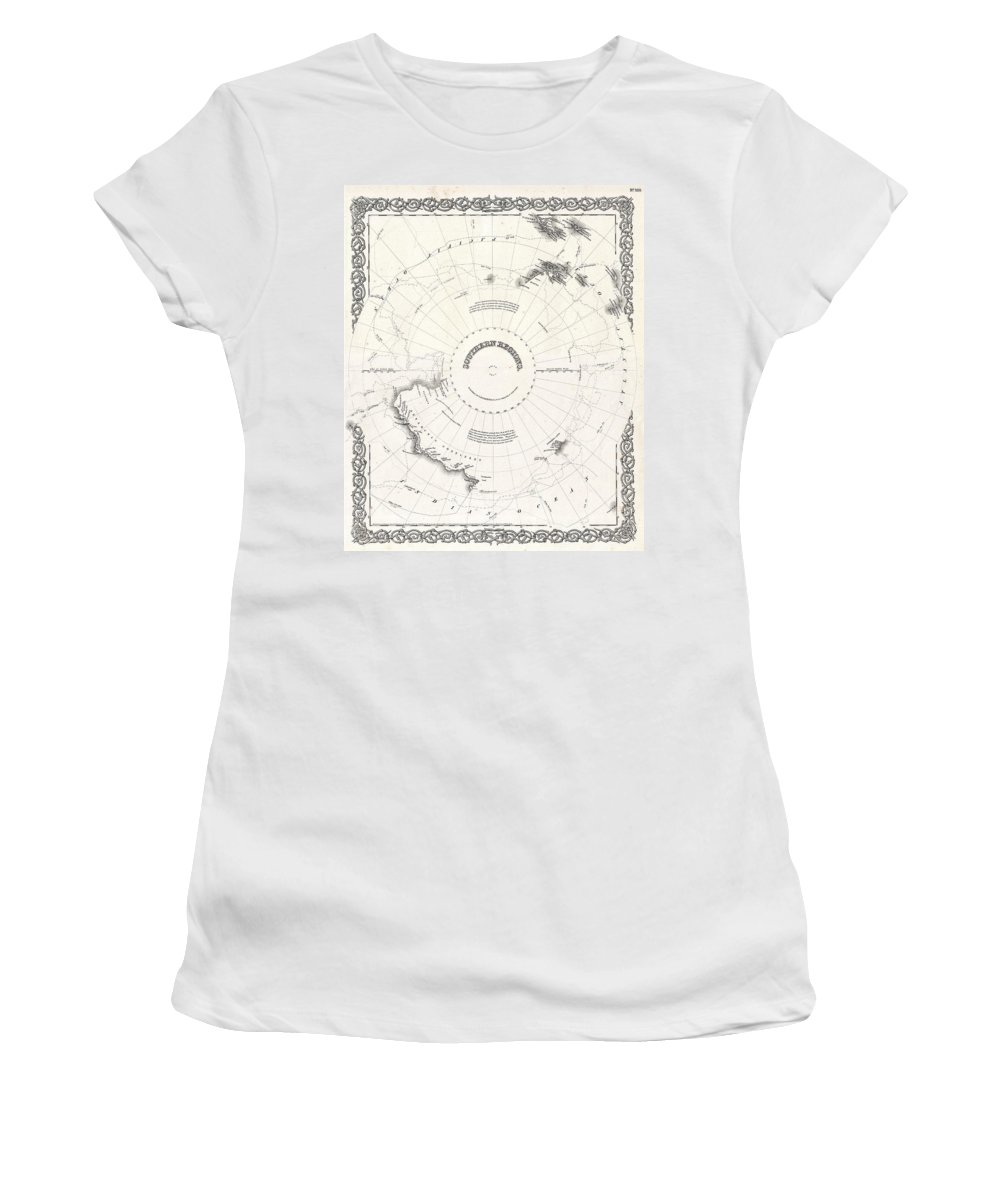 Women's T-Shirt featuring the photograph 1855 Colton Map Of Antarctica The South Pole Or The Southern Polar Regions by Paul Fearn