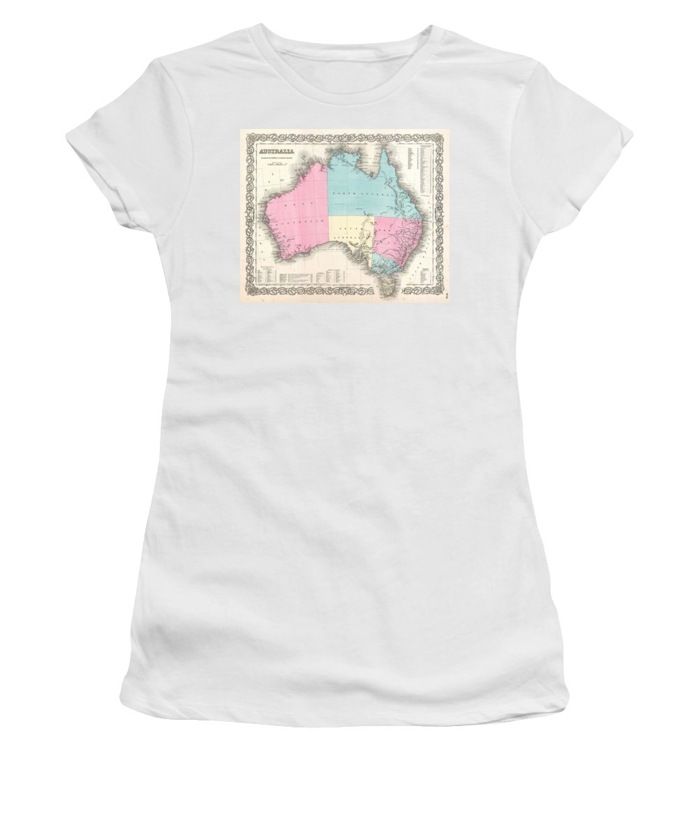 Women's T-Shirt featuring the photograph 1855 Colton Map Of Australia by Paul Fearn
