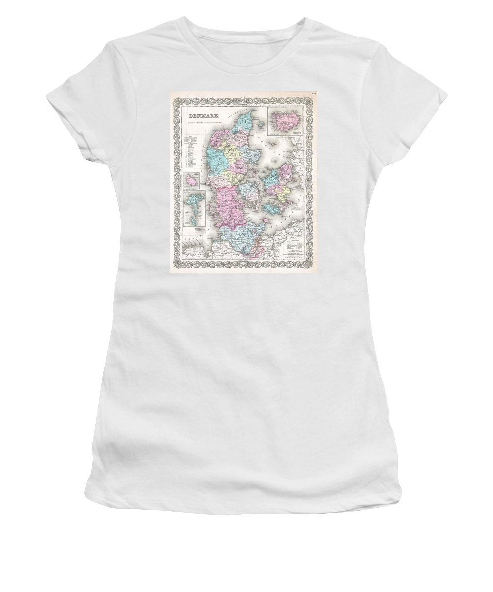 Women's T-Shirt featuring the photograph 1855 Colton Map Of Denmark by Paul Fearn