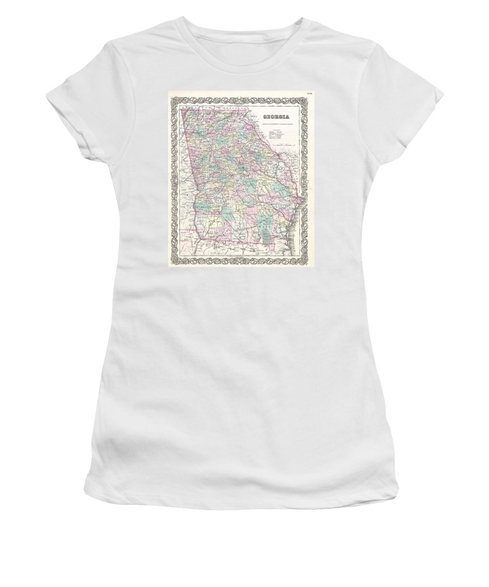Women's T-Shirt featuring the photograph 1855 Colton Map Of Georgia by Paul Fearn