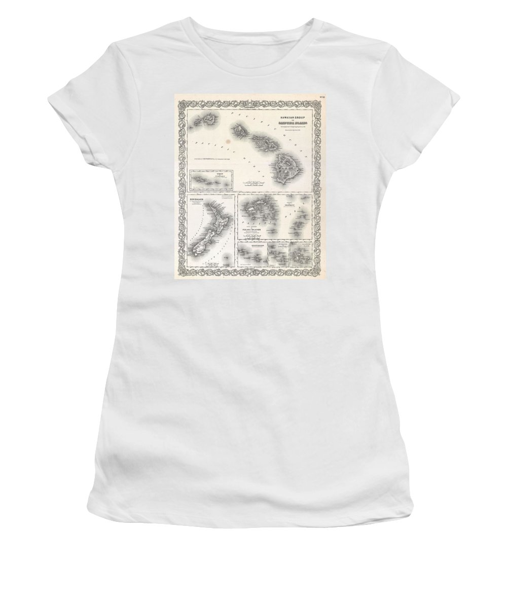 Women's T-Shirt featuring the photograph 1855 Colton Map Of Hawaii And New Zealand by Paul Fearn