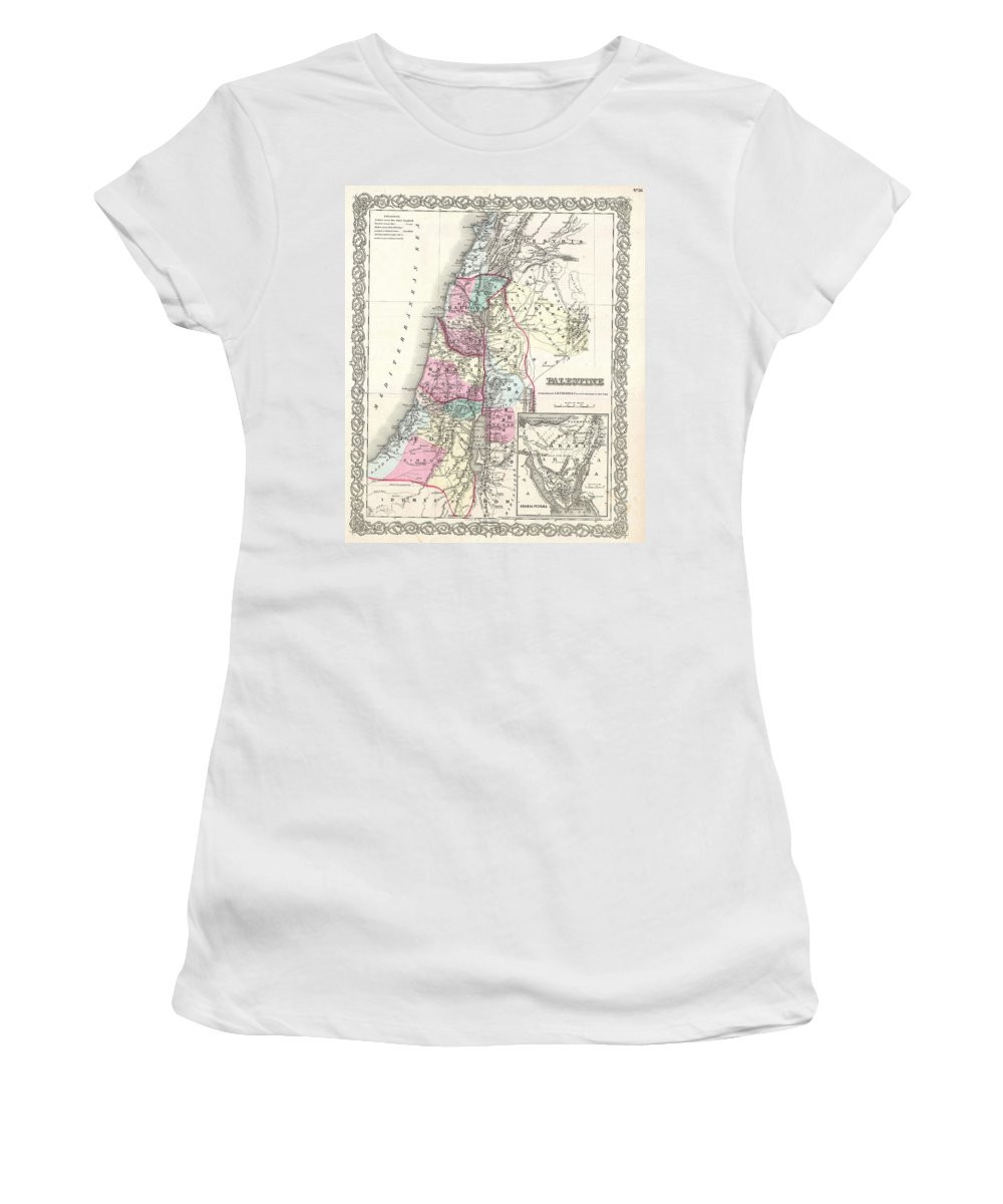 Women's T-Shirt featuring the photograph 1855 Colton Map Of Israel Palestine Or The Holy Land by Paul Fearn