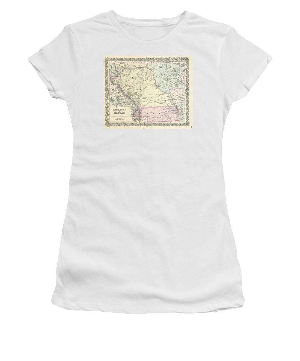 Women's T-Shirt featuring the photograph 1855 Colton Map Of Kansas And Nebraska by Paul Fearn