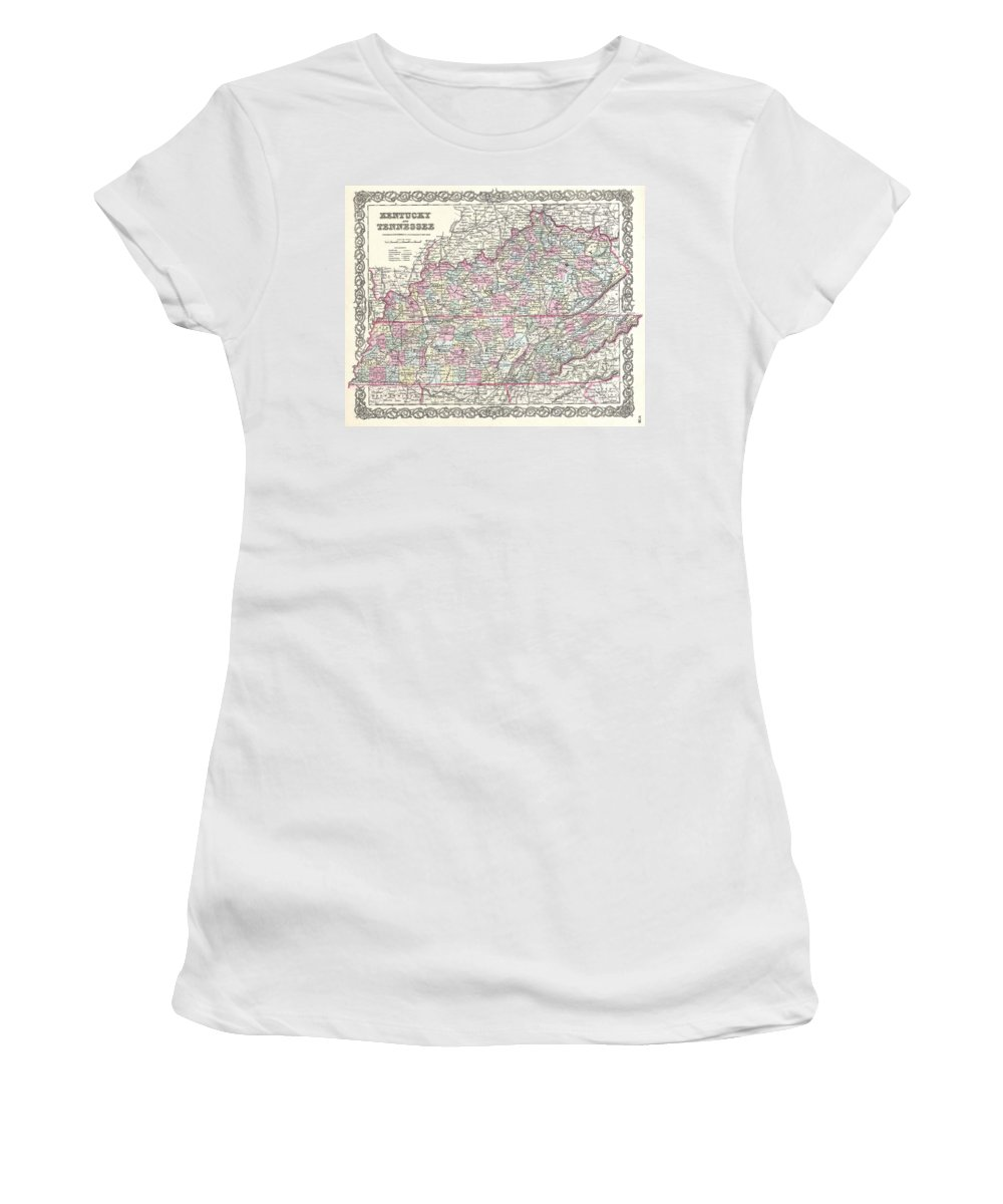 Women's T-Shirt featuring the photograph 1855 Colton Map Of Kentucky And Tennessee by Paul Fearn