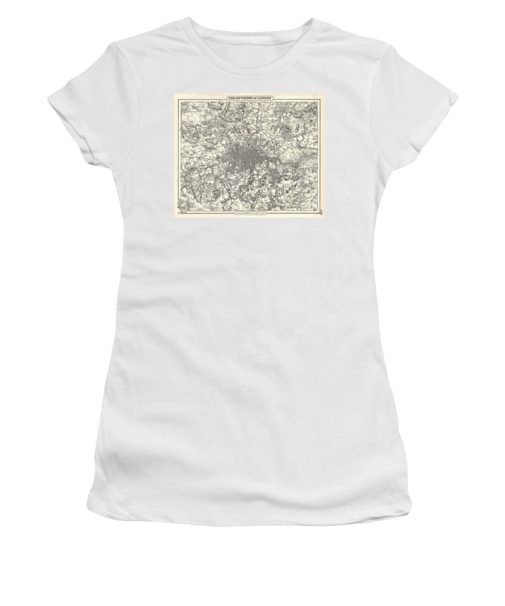 Women's T-Shirt featuring the photograph 1855 Colton Map Of London by Paul Fearn
