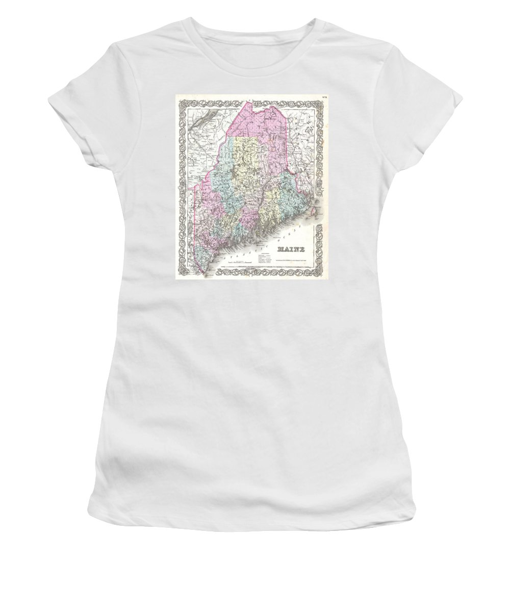 Women's T-Shirt featuring the photograph 1855 Colton Map Of Maine by Paul Fearn