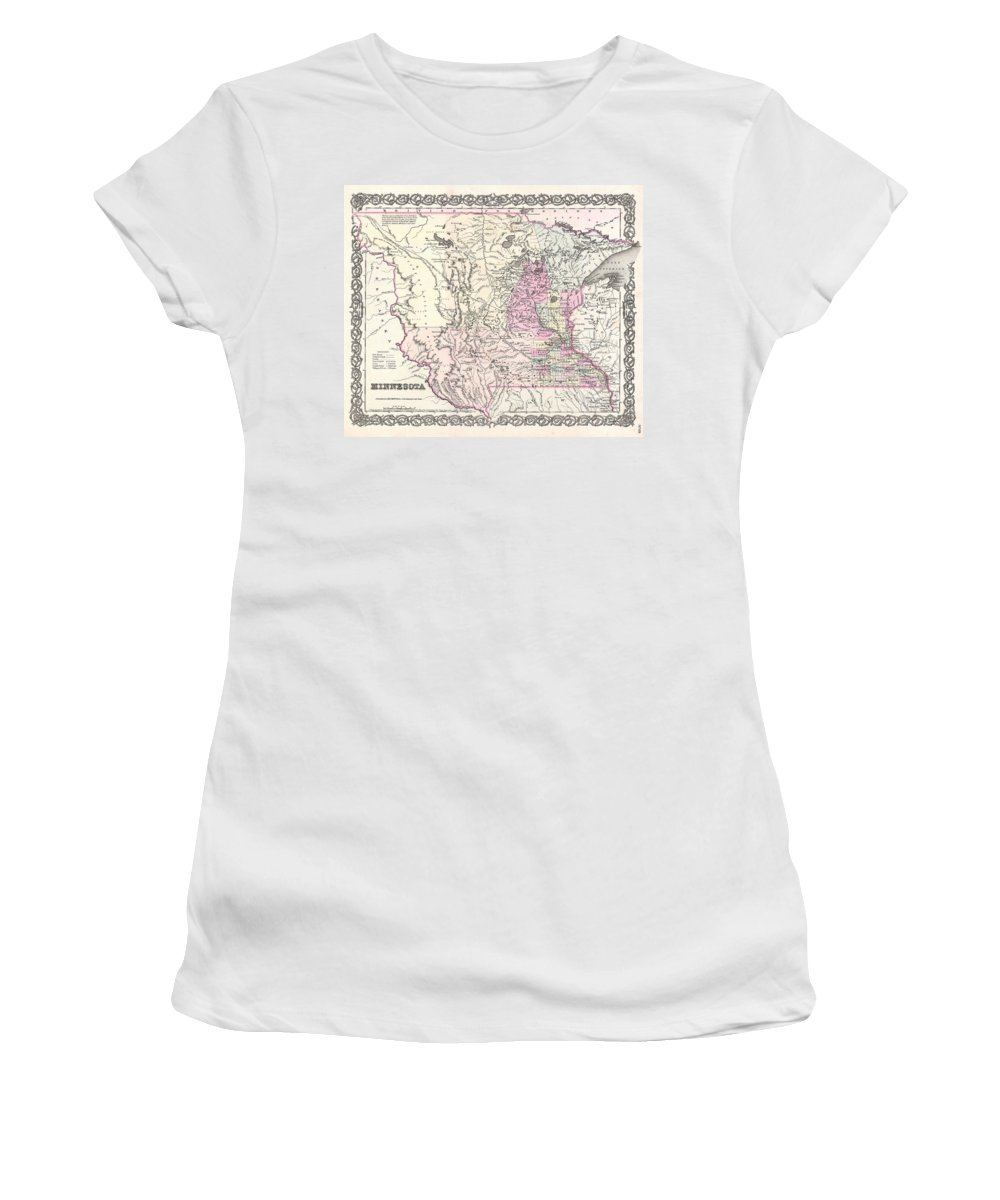 Women's T-Shirt featuring the photograph 1855 Colton Map Of Minnesota by Paul Fearn