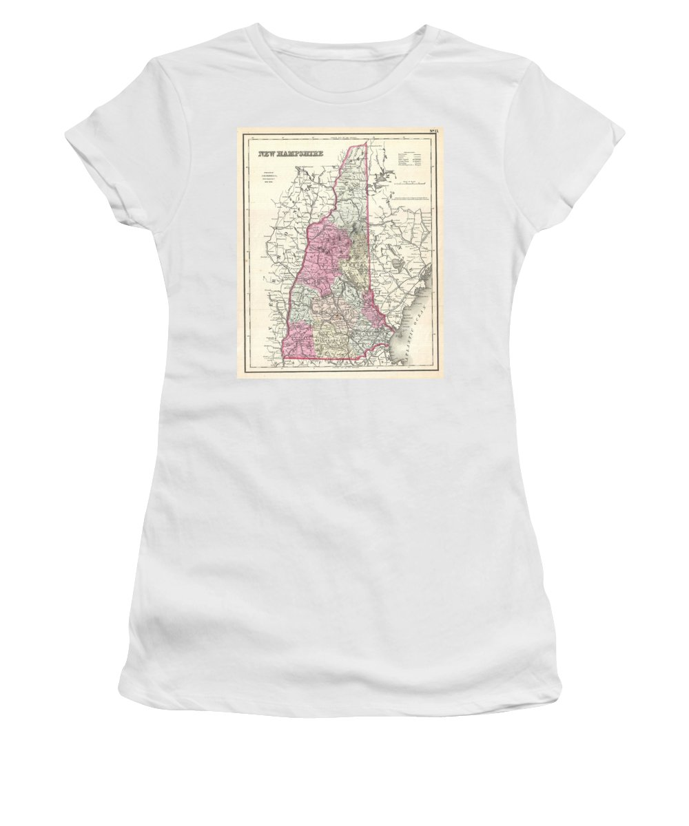 Women's T-Shirt (Athletic Fit) featuring the photograph 1857 Colton Map Of New Hampshire by Paul Fearn