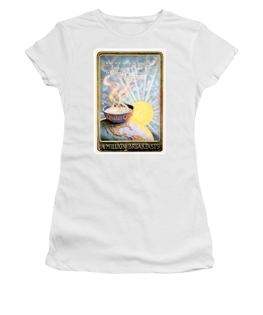 1906 Women's T-Shirt featuring the digital art 1906 - Quaker Oats Cereal Advertisement - Color by John Madison