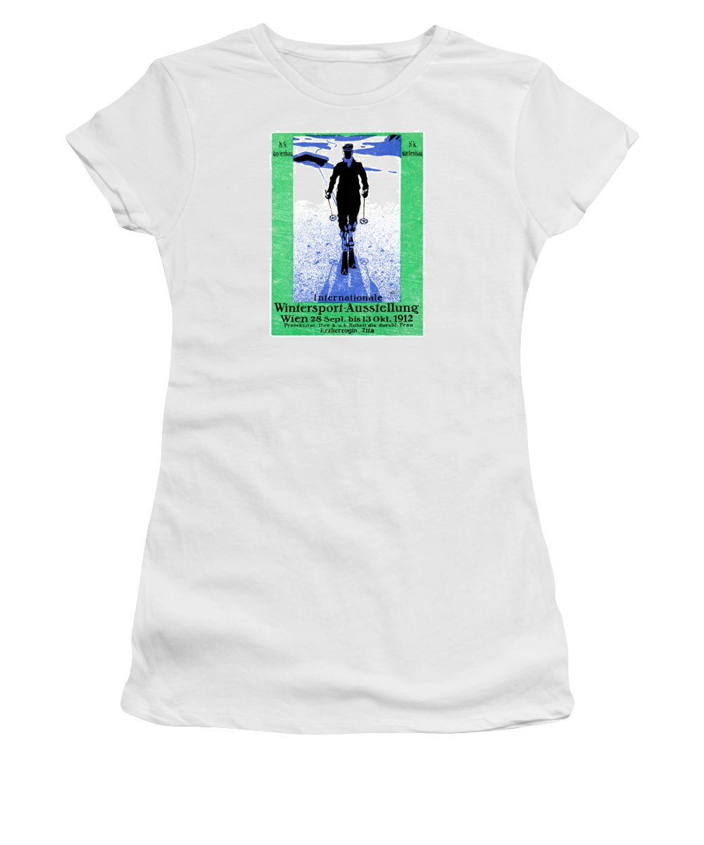 Vintage Women's T-Shirt featuring the painting 1912 Vienna Winter Sports by Historic Image
