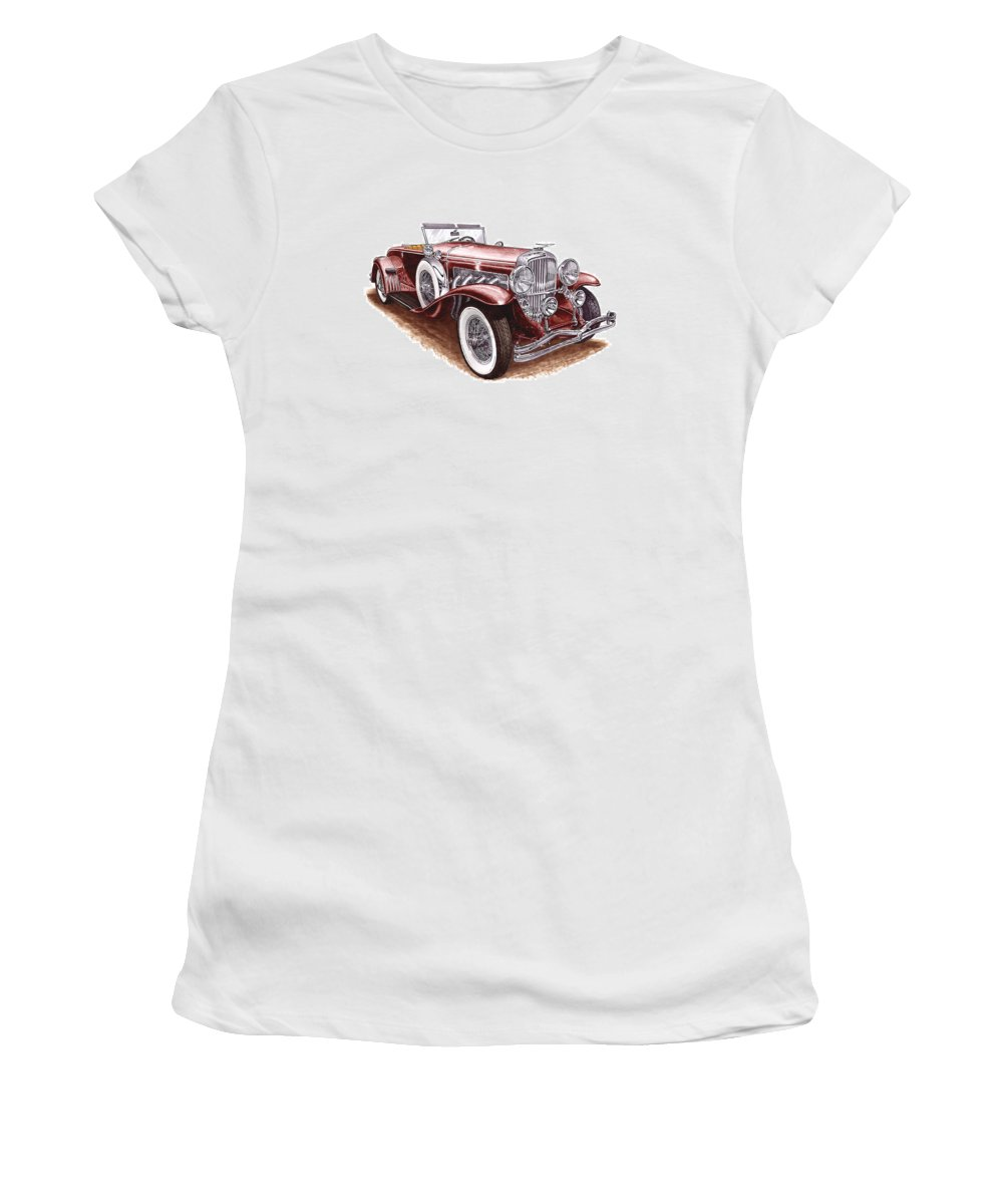 An Art Print Using Colored Pencils Of A 1930 Duesenberh Model J Roadster Coupe Women's T-Shirt (Athletic Fit) featuring the mixed media 1930 Dusenberg Model J by Jack Pumphrey