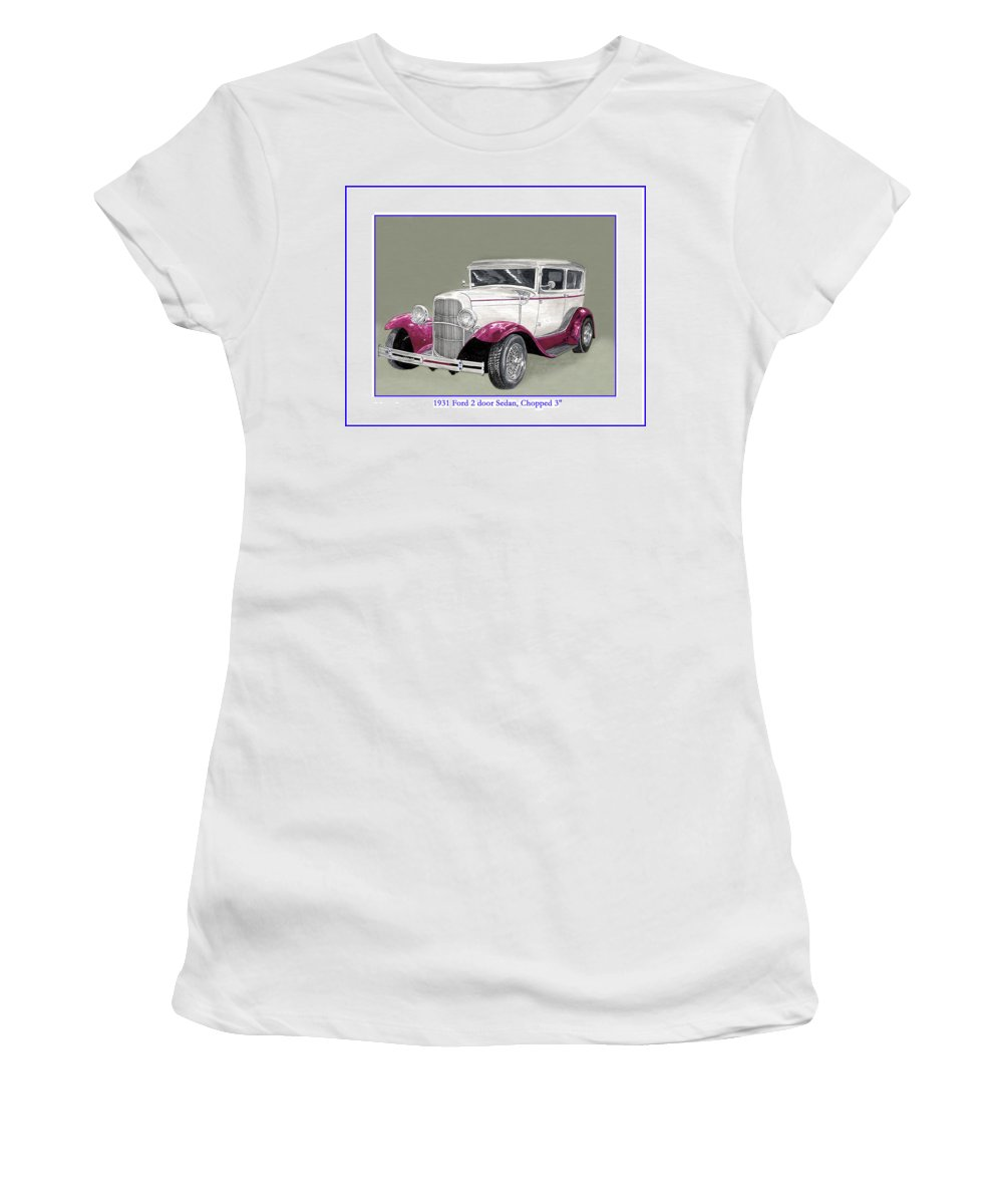 Watercolor Art Of Cars Women's T-Shirt (Athletic Fit) featuring the painting 1931 Ford 2 Door Sedan Street-rod by Jack Pumphrey