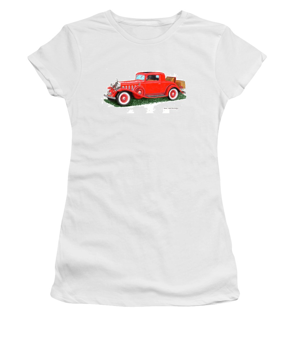 Classic Car Paintings Women's T-Shirt featuring the painting 1932 Cadillac Rumbleseat Coupe by Jack Pumphrey
