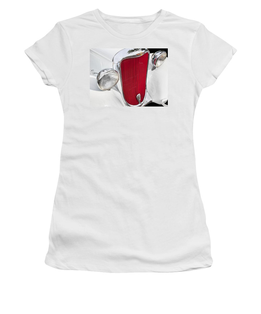 Dodge Women's T-Shirt featuring the photograph 1933 White Dodge Sedan by Rich Franco