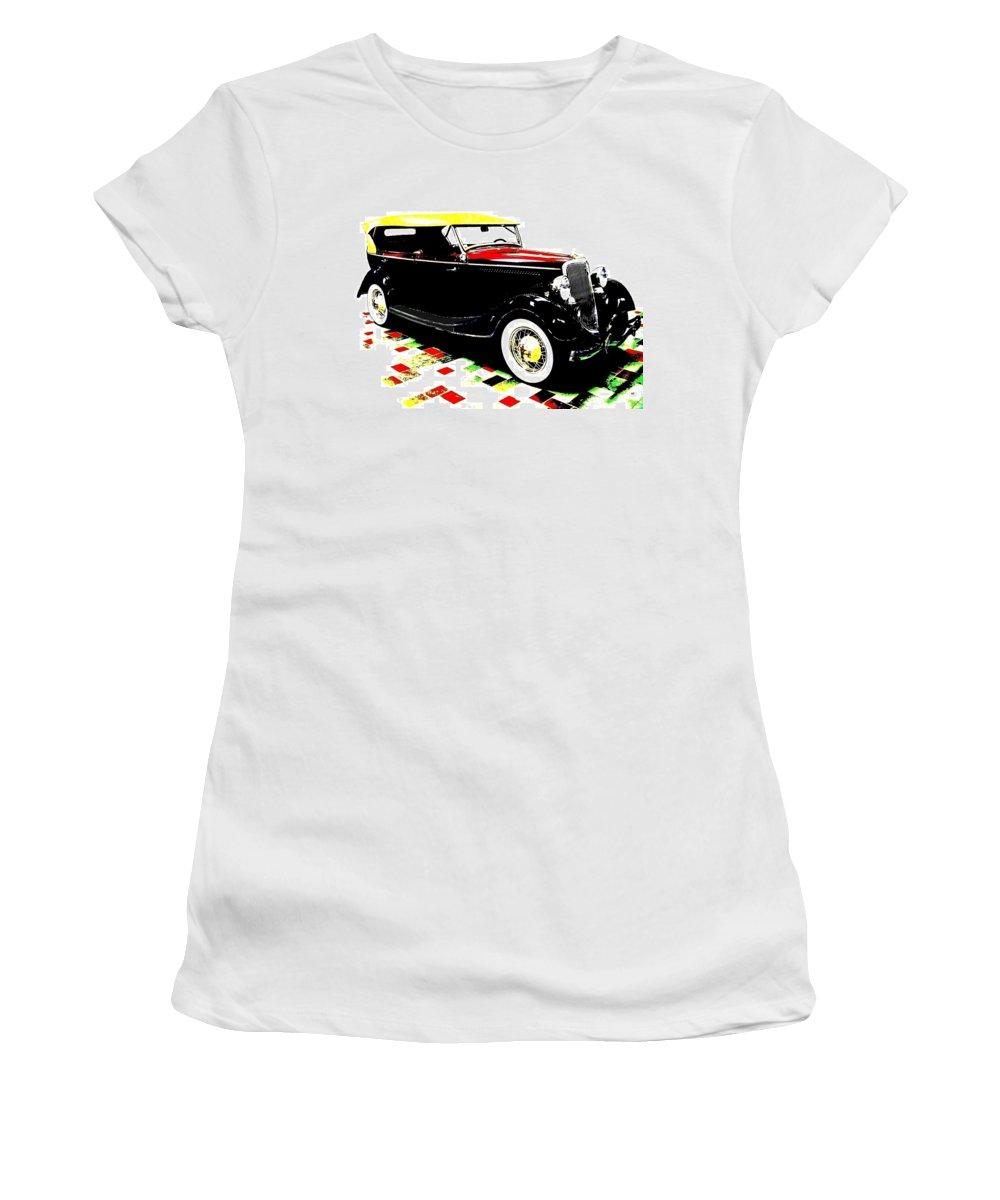 1934 Ford Phaeton V8 Women's T-Shirt (Athletic Fit) featuring the digital art 1934 Ford Phaeton V8 by Will Borden