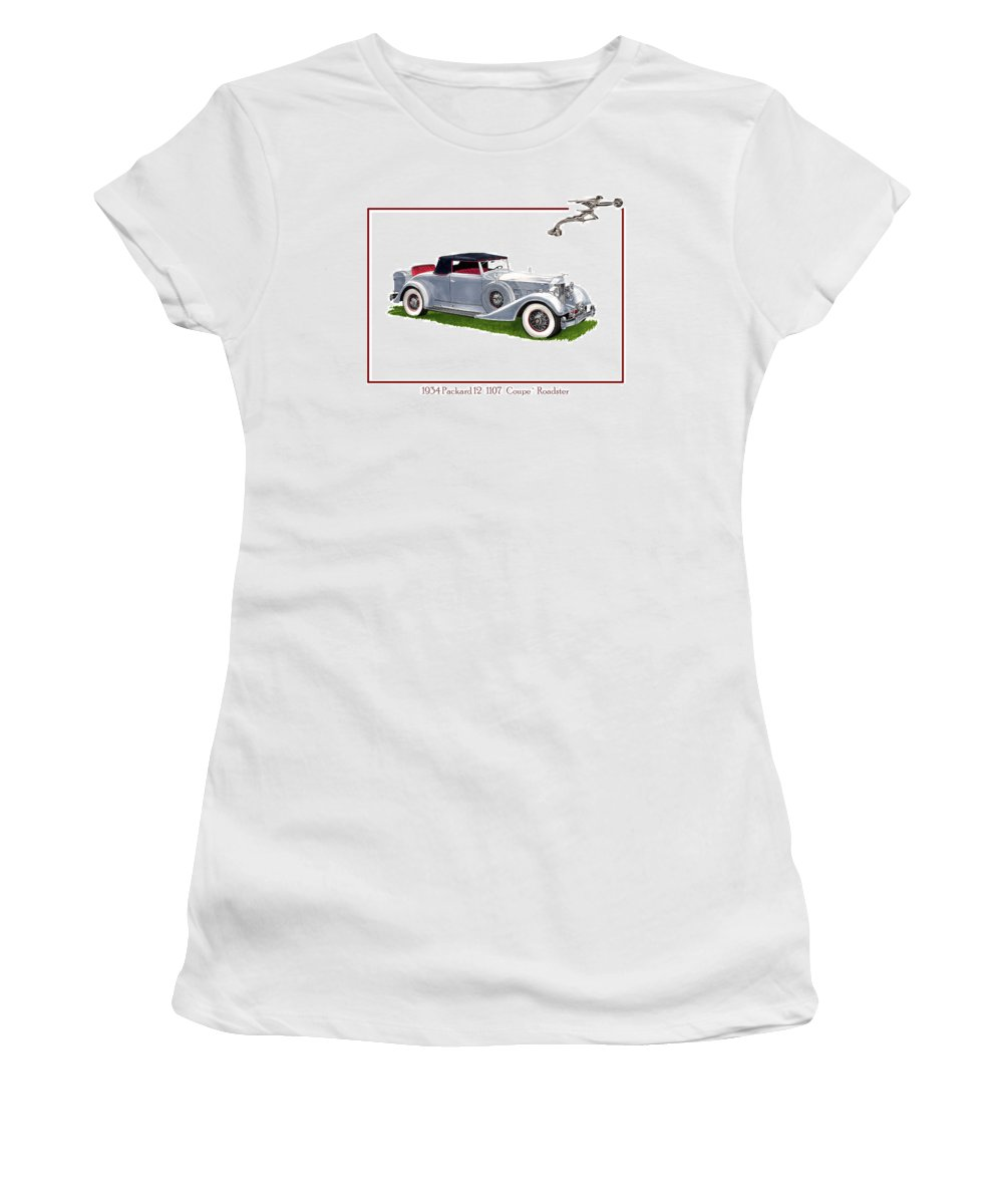 Watercolor Art Of A 1934 Packard V-12 1107 Coupe Roadster Women's T-Shirt featuring the painting 1934 Packard Twelve 1107 Coupe by Jack Pumphrey