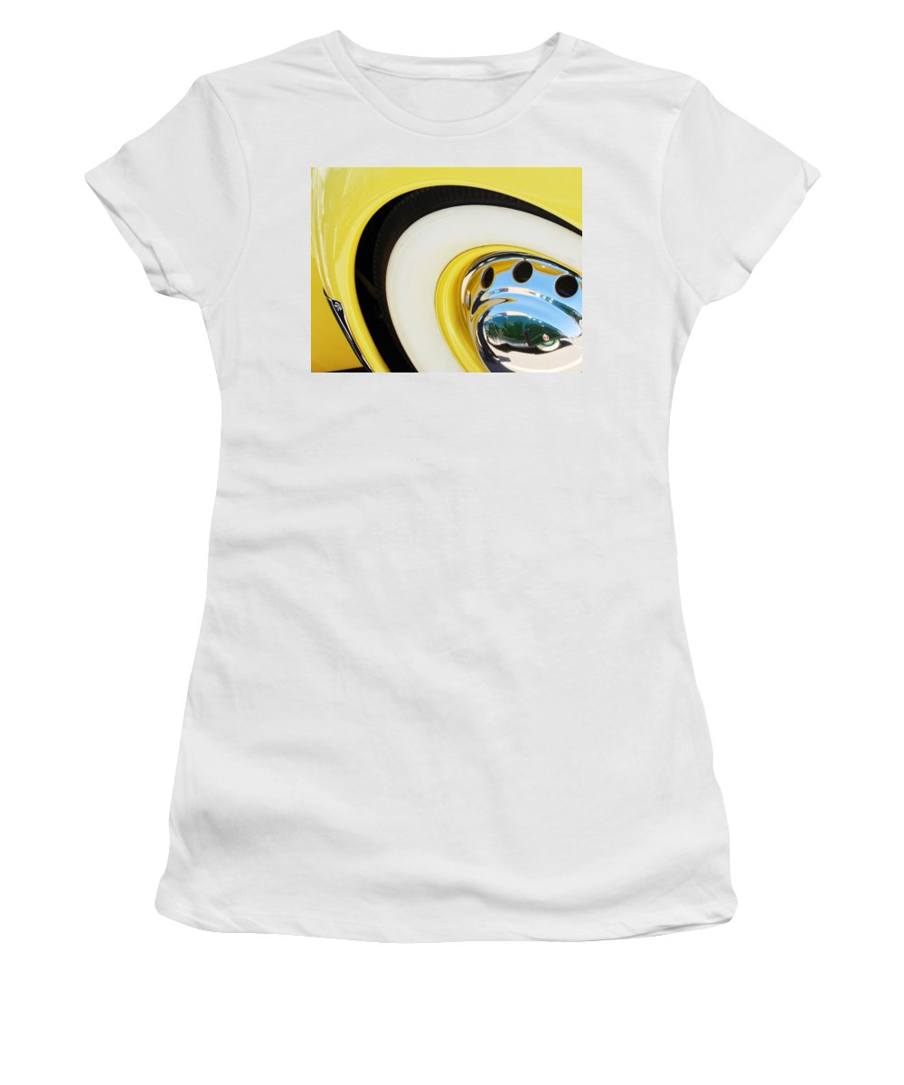 1937 Cord 812 Phaeton Wheel Rim Reflecting Cadillac Women's T-Shirt featuring the photograph 1937 Cord 812 Phaeton Wheel Rim Reflecting Cadillac by Jill Reger