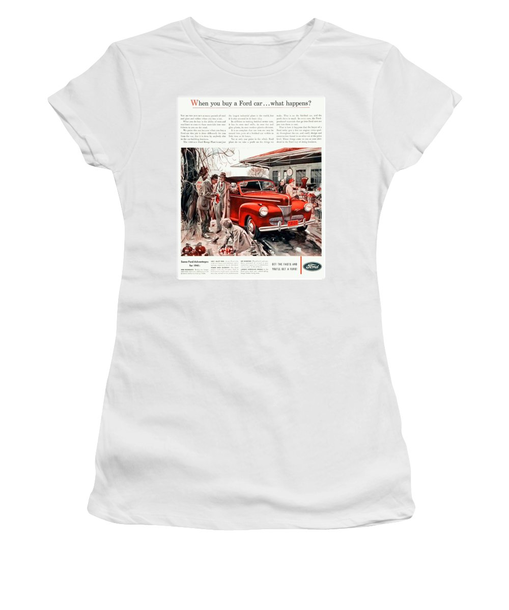 1941 Women's T-Shirt featuring the digital art 1941 - Ford Super Deluxe Automobile Advertisement - Color by John Madison