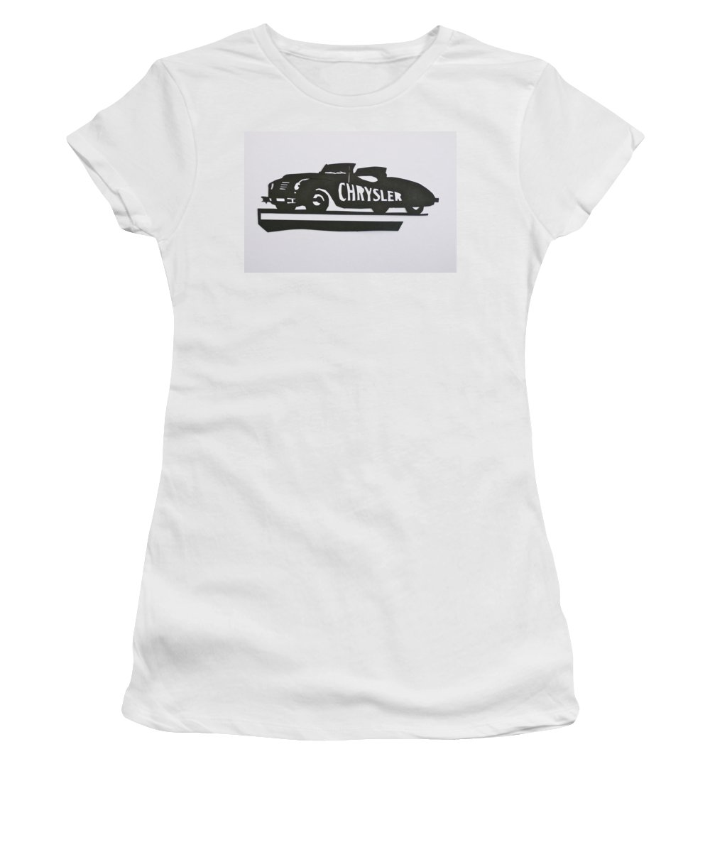 Indianapolis 500 Women's T-Shirt featuring the mixed media 1941 Chrysler Indianapolis 500 Pace Car by Anna Ruzsan