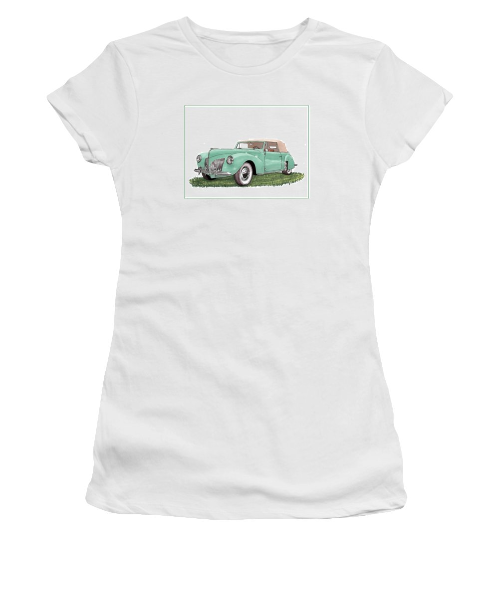 Framed Prints Of Lincoln Continentals. Framed Canvas Prints Of Art Of Famous Lincoln Cars. Framed Prints Of Lincoln Car Art. Framed Canvas Prints Of Great American Classic Cars Women's T-Shirt (Athletic Fit) featuring the drawing 1941 Lincoln V-12 Continental by Jack Pumphrey