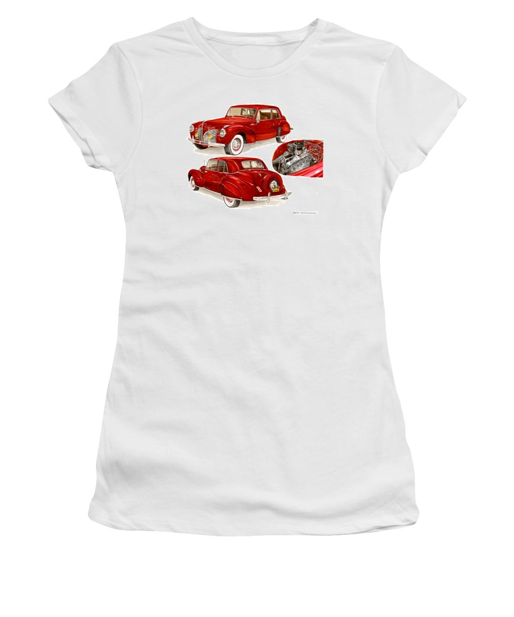 A Jack Pumphrey Watercolor Painting Of A 1941 Lincoln Continental Women's T-Shirt (Athletic Fit) featuring the painting 1941 V 12 Lincoln Continental by Jack Pumphrey