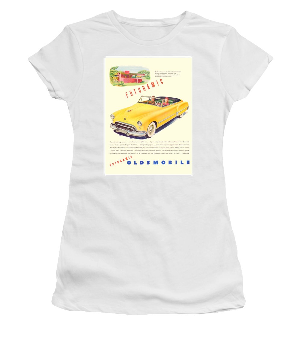 1940 Women's T-Shirt (Athletic Fit) featuring the digital art 1948 - Oldsmobile Convertible Automobile Advertisement - Color by John Madison