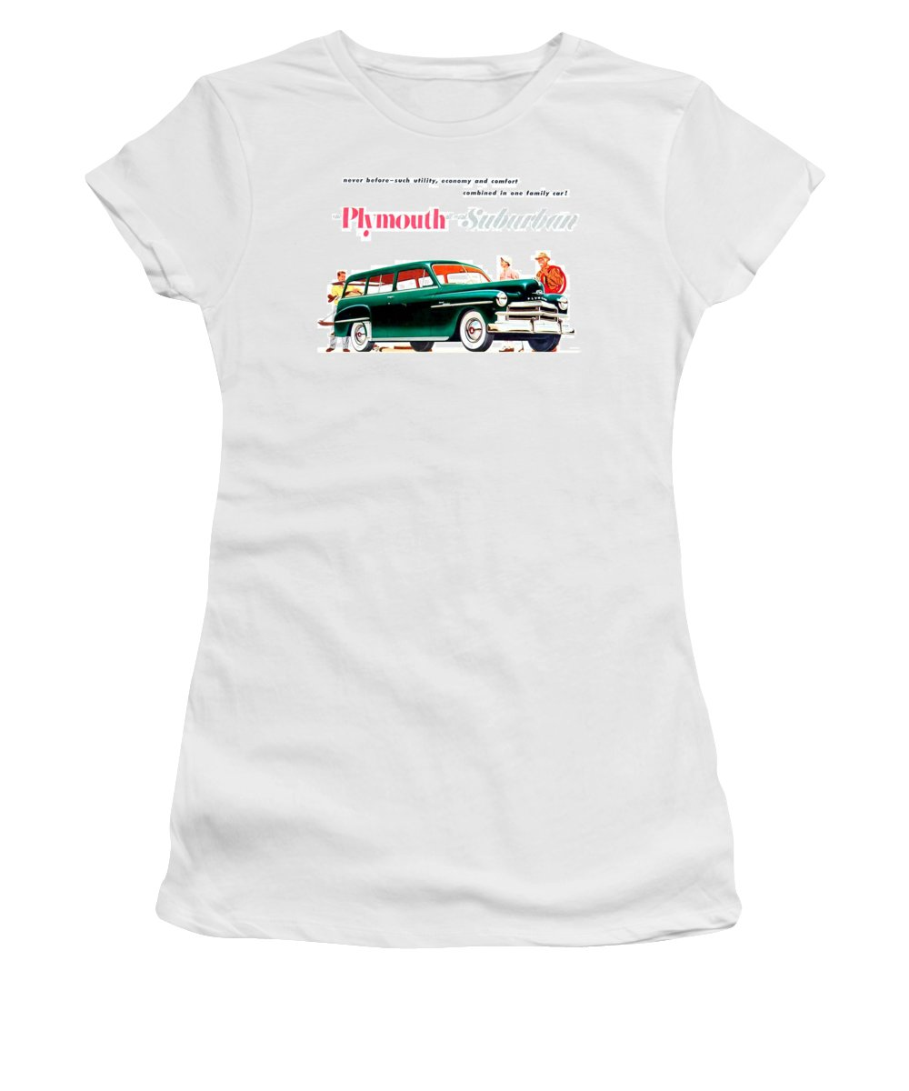 1936 Women's T-Shirt featuring the digital art 1950 - Plymouth Suburban Station Wagon Automobile Advertisement - Color by John Madison