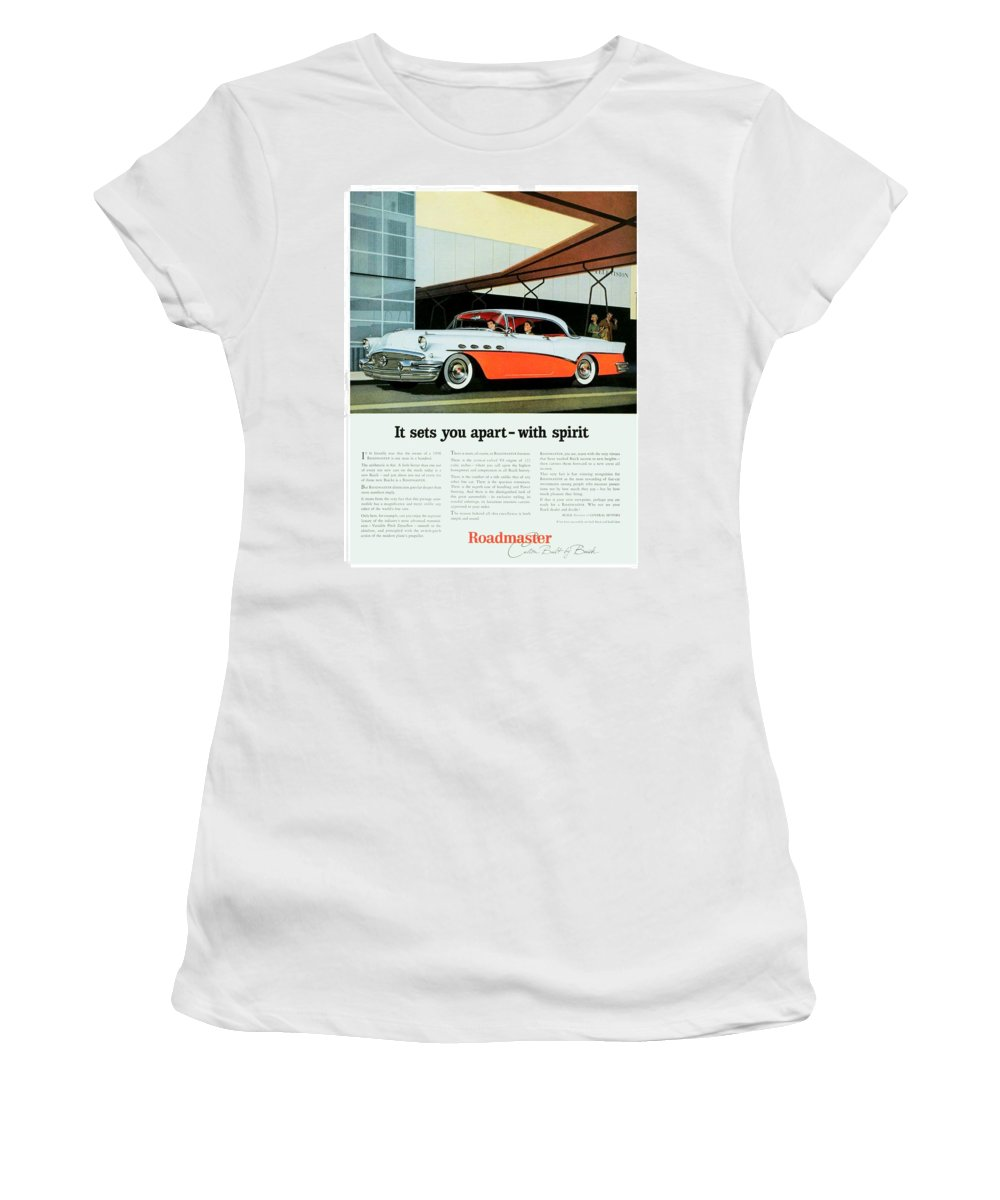 1956 Women's T-Shirt (Athletic Fit) featuring the digital art 1956 - Buick Roadmaster Convertible - Advertisement - Color by John Madison
