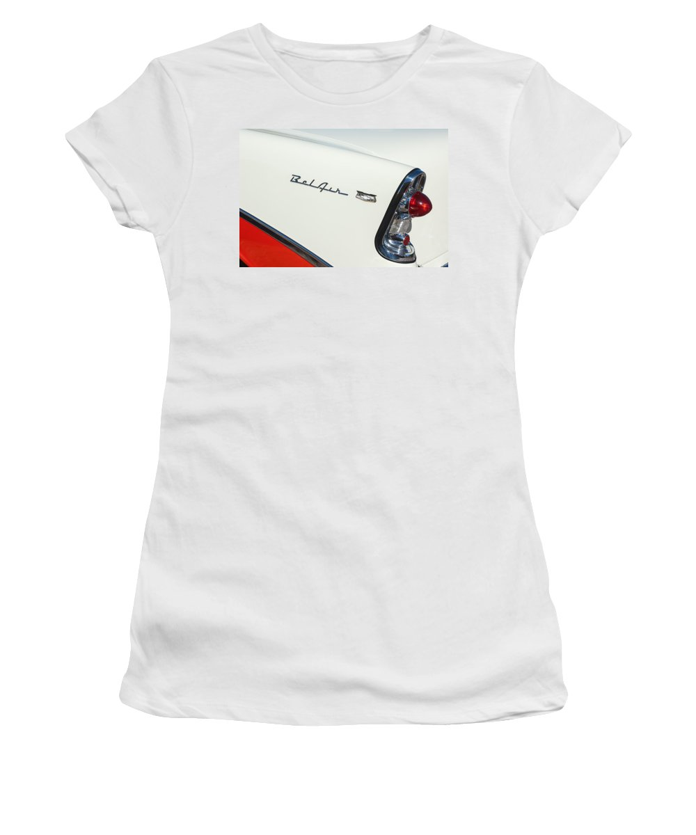 1956 Chevrolet Belair Coupe Taillight Women's T-Shirt (Athletic Fit) featuring the photograph 1956 Chevrolet Belair Coupe Taillight by Jill Reger