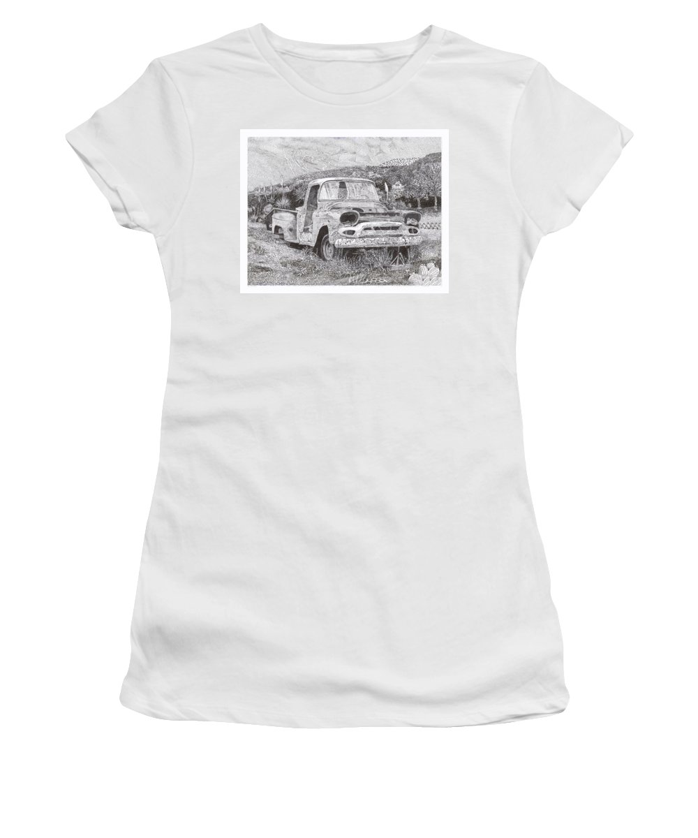 Classic 1957 Gmc Pick Up That's Seen Better Days Women's T-Shirt (Athletic Fit) featuring the drawing Ran When Parked by Jack Pumphrey