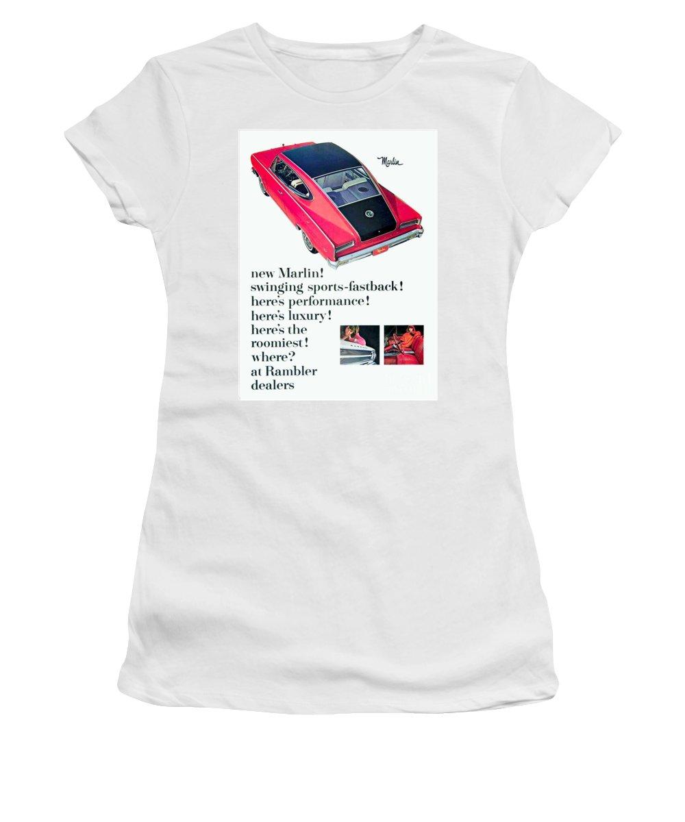 Rambler Women's T-Shirt featuring the digital art 1965 - Rambler Marlin - Automobile Advertisement - Color by John Madison