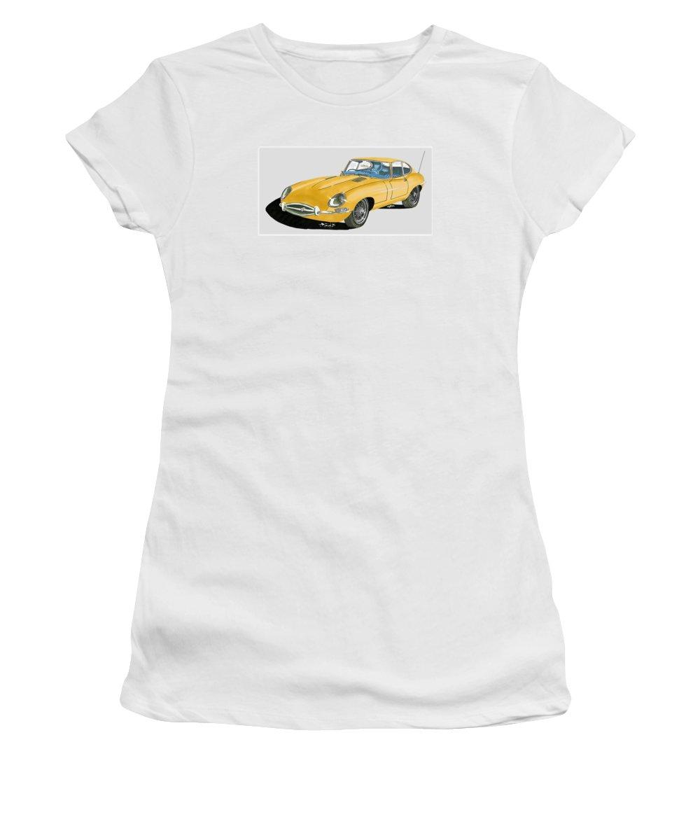 Jack's Car Art Of A 1967 Jaguar Xke Coupe' Women's T-Shirt (Athletic Fit) featuring the painting 1967 Jaguar X K E Coupe by Jack Pumphrey